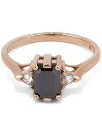 Anna Sheffield - Metallic Rose Gold Black Diamond Bea Three Stone Ring - Lyst