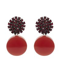 Marni | Red Rhinestone And Resin Clip-on Drop Earrings | Lyst