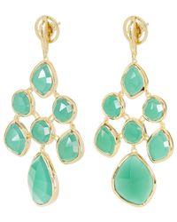 Monica Vinader - Metallic Rose Gold-plated Green Onyx Siren Chandelier Earrings - Lyst