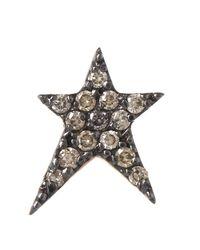 Kismet by Milka | Metallic Rose Gold Struck Small Star Diamond Earring | Lyst