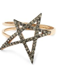 Kismet by Milka | Metallic Rose Gold Small Doodle Star Champagne Diamond Ring | Lyst