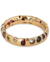 Polly Wales | Metallic Rose Gold Rainbow Sapphire Confetti Ring | Lyst