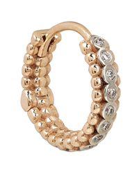 Kismet by Milka - Metallic Rose Gold Beaded White Diamond Single Tiny Hoop Earring - Lyst