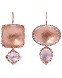 Larkspur & Hawk - Multicolor Rose Gold-washed White Quartz Double Drop Earrings - Lyst