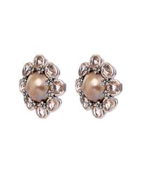 Stephen Dweck - Metallic Sterling Silver Pink Mabe Pearl And Peach Quartz Flower Clip-on Earrings - Lyst