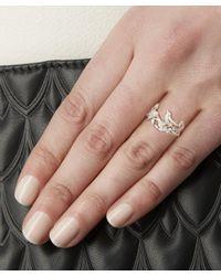 Alex Monroe - Metallic Silver And Pearl Wild Rose Bird Ring - Lyst