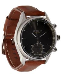 Kronaby - Brown Sekel Stainless Steel Leather Strap Smart Watch for Men - Lyst