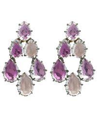 Larkspur & Hawk - Pink Silver Caterina White Quartz Swag Earrings - Lyst