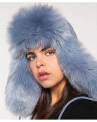 Charlotte Simone - Blue Fashion Helmet Hat In Faux Fur - Lyst