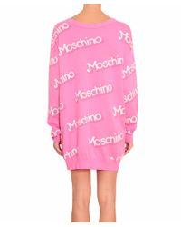 Moschino - Pink Cotton Mini Dress - Lyst