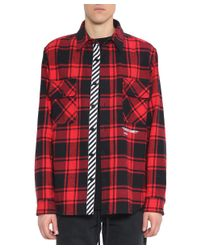 e0b5b1495ea7 Lyst - Off-White c o Virgil Abloh Check Flannel Quote Shirt in Red ...