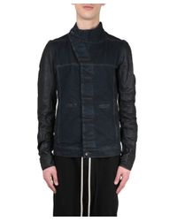 DRKSHDW by Rick Owens - Black Giacca Slave Denim Di Cotone E Pelle for Men - Lyst