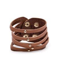 Linea Pelle | Brown Sliced Dome Stud Bracelet | Lyst