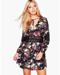 Boohoo   Black Floral Print Lace Insert Skater Dress   Lyst
