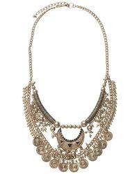 Pieces   Metallic Pendant Necklace   Lyst