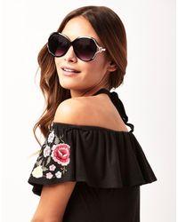 Lipsy   Black Large Round Glam Sunglasses   Lyst