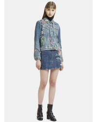 Gucci - High Waist Flower Embroidered Mini Skirt In Blue - Lyst