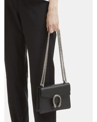 Gucci - Women's Dionysus Mini Swarovski Tiger Head Crossbody Bag In Black - Lyst