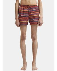 Missoni - Zigzag Print Swim Shorts In Red for Men - Lyst
