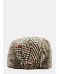Stella McCartney - Mixed Check Tweed Cap In Brown And Beige for Men - Lyst