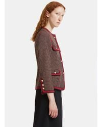Gucci - Polka Dot Collarless Jacket In Red And Khaki - Lyst