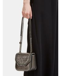 Stella McCartney - Metallic Wicker Falabella Box Mini Shoulder Bag In Gunmetal Silver - Lyst