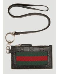 c80f7fc35c73 Gucci Web Strap Leather Card Case In Black in Black for Men - Lyst