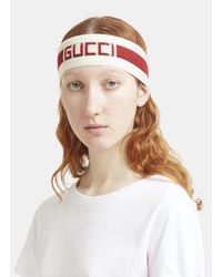 Gucci - Jacquard Headband In White And Red - Lyst