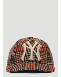 64e2b7230c7 Lyst - Gucci Ny Yankees Tartan Baseball Cap In Brown in Brown for Men