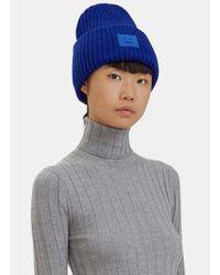 Acne Studios | Women's Pansy Wool Knit Hat In Blue | Lyst