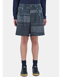 Kolor - Gray Men's Oversized Metallic Bar Stripe Shorts In Grey for Men - Lyst