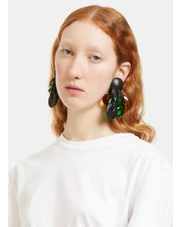 Monies | Women's Ebony Clip-on Disk Earrings In Black, Green And Brown | Lyst