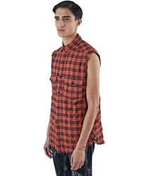 Saint Laurent - Black Men's Sleeveless Plaid Shirt Vest In Red for Men - Lyst