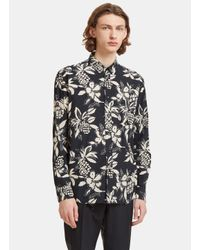 Saint Laurent - Multicolor Men's Hibiscus Print Shirt In Navy for Men - Lyst