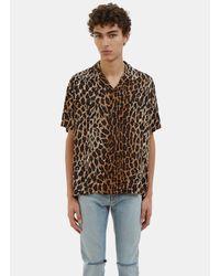 923c117bdcd Saint Laurent Men's Leopard Print Short Sleeved Shirt In Brown in ...