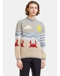 Thom Browne | Gray Men's Beachside Jacquard Mohair Knit Sweater In Grey for Men | Lyst