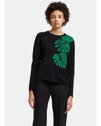 Valentino | Women's Jungle Leaf Intarsia Knit Sweater In Black | Lyst