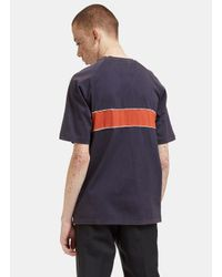 Wales Bonner - Gray Men's George Stripe Crew Neck T-shirt In Charcoal for Men - Lyst