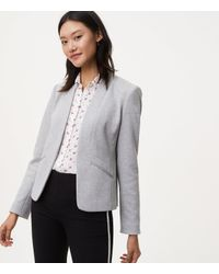 LOFT - Gray Paneled Knit Blazer - Lyst