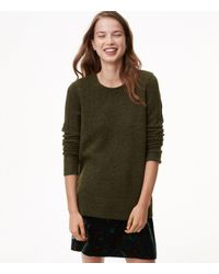 LOFT - Green Relaxed Pointelle Sweater - Lyst
