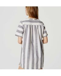 LOFT - White Beach Striped Lace Up Dress - Lyst