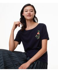 LOFT - Blue Floral Embroidered Ballet Neck Tee - Lyst