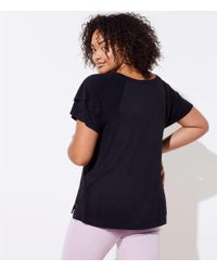 LOFT - Black Plus Double Flounce Sleeve Tee - Lyst