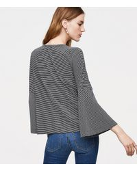 LOFT - Blue Embroidered Striped Bell Sleeve Tee - Lyst