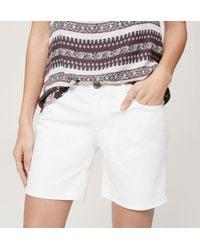 LOFT - Relaxed Skinny Denim Shorts In White - Lyst