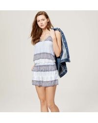 LOFT - Blue Beach Sunburst Stripe Double V Romper - Lyst