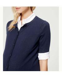 LOFT - Blue Maternity Short Sleeve Cotton Cardigan - Lyst