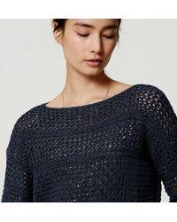 LOFT - Blue Petite Textured Stripe Sweater - Lyst