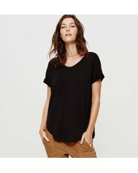 LOFT - Black Petite Lou & Grey Signaturesoft Shirttail Tee - Lyst