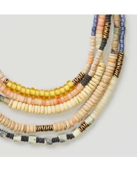 LOFT | Metallic Wooden Bead Multistrand Necklace | Lyst